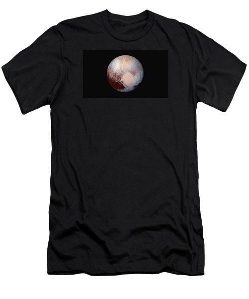 Pluto Dazzles In False Color Men's T-Shirt (Slim Fit) by Nasa