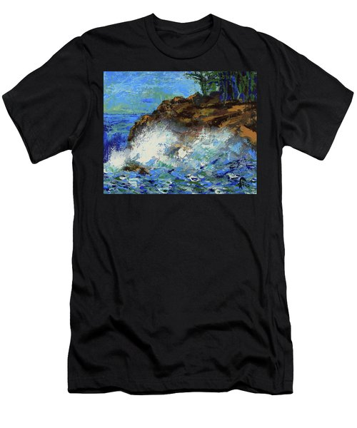 Men's T-Shirt (Athletic Fit) featuring the painting Point Lobos Crashing Waves by Walter Fahmy