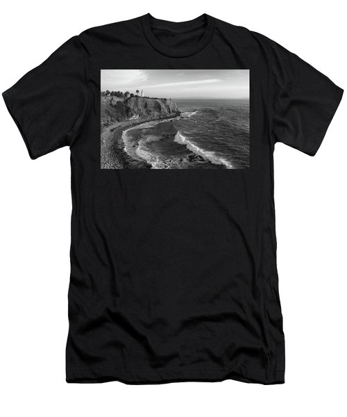 Point Vicente Lighthouse Palos Verdes California - Black And White Men's T-Shirt (Athletic Fit)