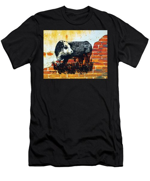 Polled Hereford Bull  Men's T-Shirt (Slim Fit) by Larry Campbell