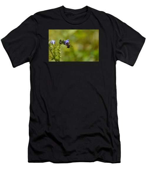 Men's T-Shirt (Slim Fit) featuring the photograph Pollinating  Bee  by Lyle Crump
