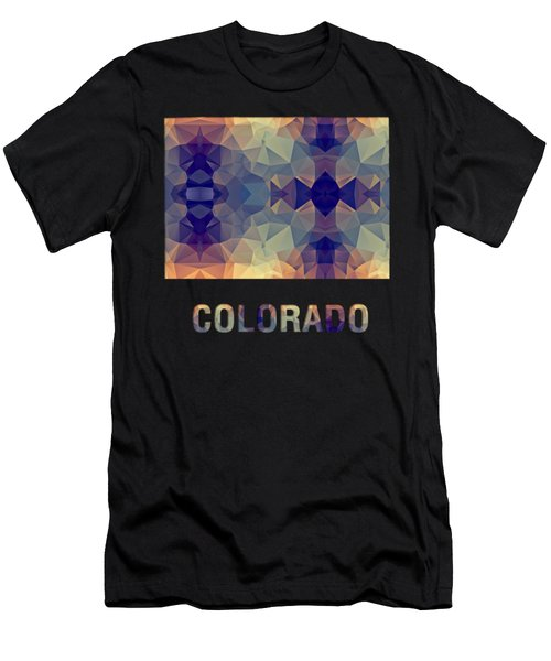 Polygon Mosaic Parchment Map Colorado Men's T-Shirt (Athletic Fit)