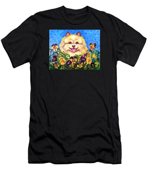 Pomeranian With Pansies Men's T-Shirt (Slim Fit) by Laura Aceto