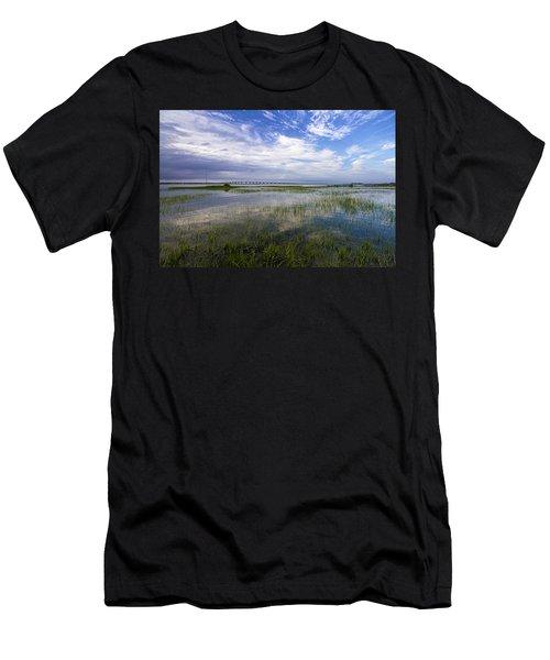 Ponquogue Bridge Springtime Men's T-Shirt (Athletic Fit)