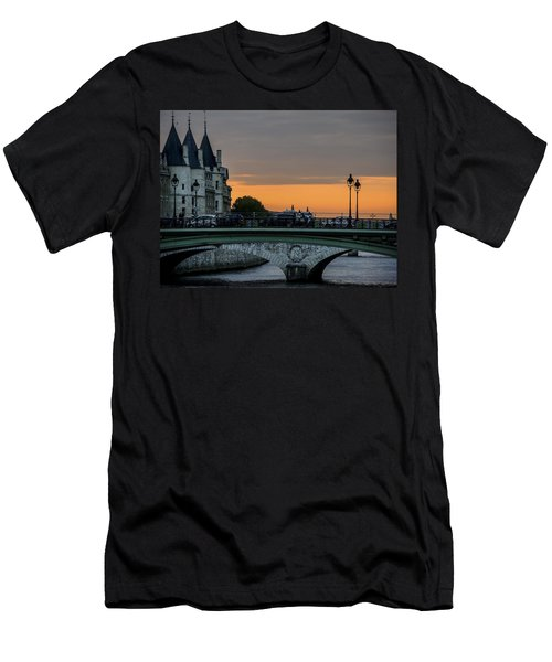 Men's T-Shirt (Slim Fit) featuring the photograph Pont Au Change Paris Sunset by Sally Ross