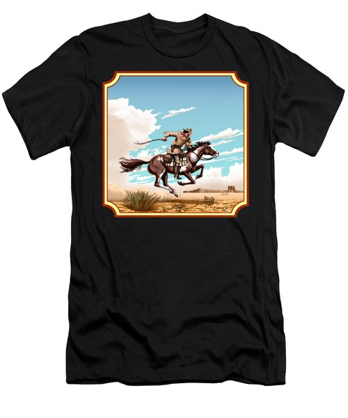 Pony Express Rider - Western Americana - Square Format Men's T-Shirt (Athletic Fit)