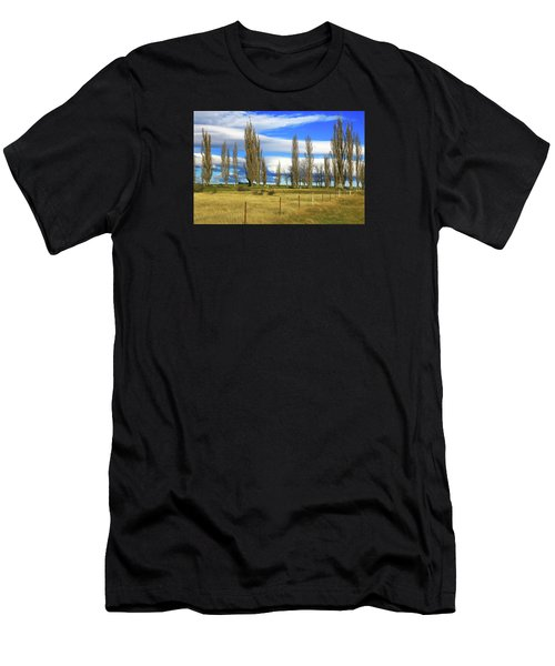 Poplars,fence And Grasses Men's T-Shirt (Athletic Fit)