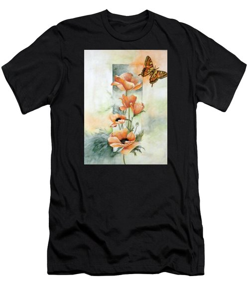 Poppies And Butterfly Men's T-Shirt (Athletic Fit)