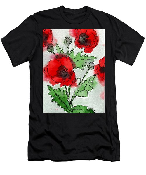 Watercolor Poppies Men's T-Shirt (Athletic Fit)