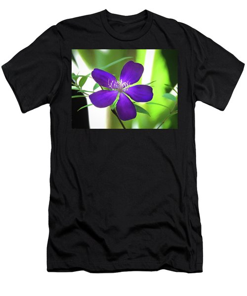 Men's T-Shirt (Athletic Fit) featuring the painting Poppin Purple Flower by Penny Lisowski