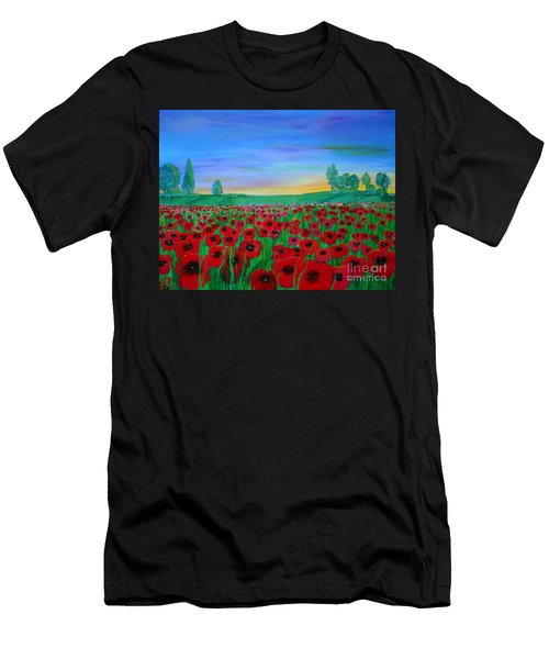 Poppy Field At Sunset Men's T-Shirt (Athletic Fit)