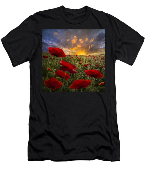 Men's T-Shirt (Athletic Fit) featuring the photograph Poppy Field by Debra and Dave Vanderlaan