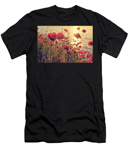 Poppy Flowers At Sunset Men's T-Shirt (Athletic Fit)
