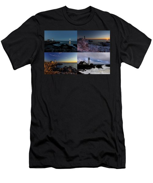 Portland Head Light Day Or Night Men's T-Shirt (Athletic Fit)