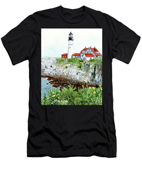 Portland Head Light, Lighthouse Painting, Lighthouse Print, Maine Lighthouse, Men's T-Shirt (Athletic Fit)