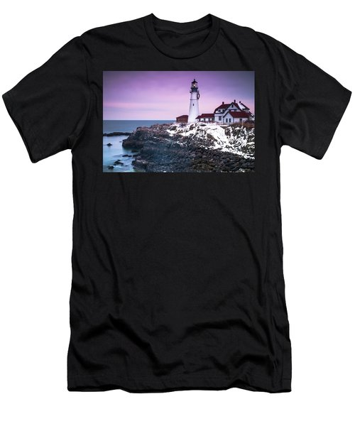 Men's T-Shirt (Athletic Fit) featuring the photograph Maine Portland Headlight Lighthouse In Winter Snow by Ranjay Mitra