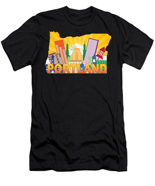 Portland Oregon Skyline In State Map Men's T-Shirt (Athletic Fit)