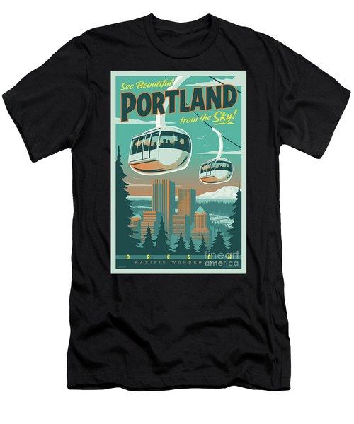 Portland Tram Retro Travel Poster Men's T-Shirt (Athletic Fit)