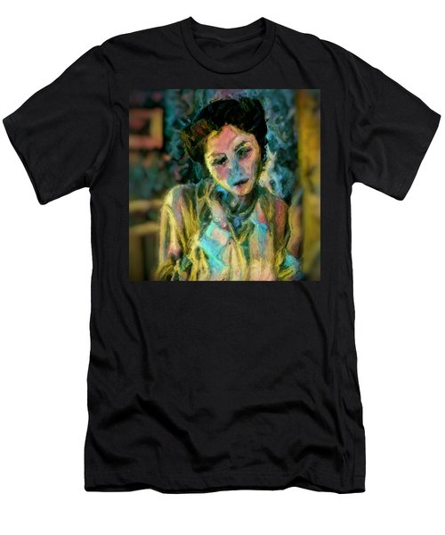 Men's T-Shirt (Slim Fit) featuring the painting Portrait Colorful Female Wistfully Thoughtful Pastel by MendyZ