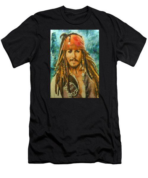 Portrait Of Johnny Depp Men's T-Shirt (Athletic Fit)