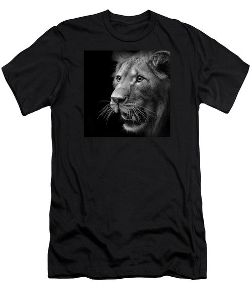 Portrait Of Lion In Black And White II Men's T-Shirt (Athletic Fit)