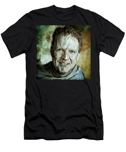 Men's T-Shirt (Slim Fit) featuring the painting Portrait Painting Cinematographer Camera Operator Behind The Scenes Movie Tv Show Film Chicago Med by MendyZ