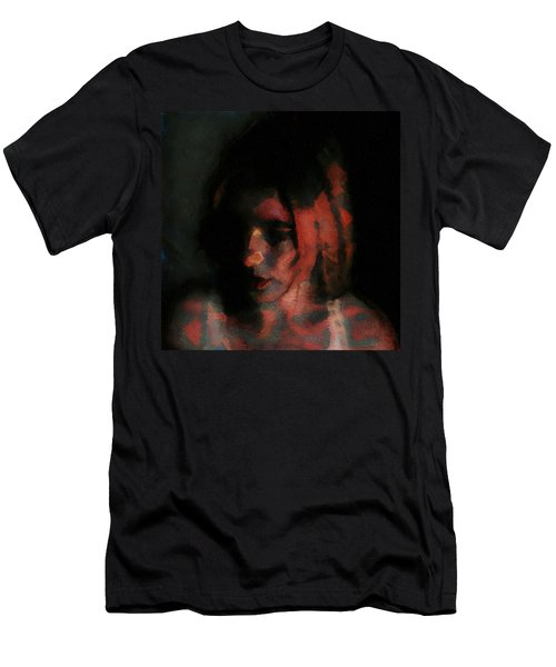 Men's T-Shirt (Slim Fit) featuring the painting Portrait Painting Of Girl In Red Gray Black With Wistful Thoughts Of Fleeting Memories by MendyZ