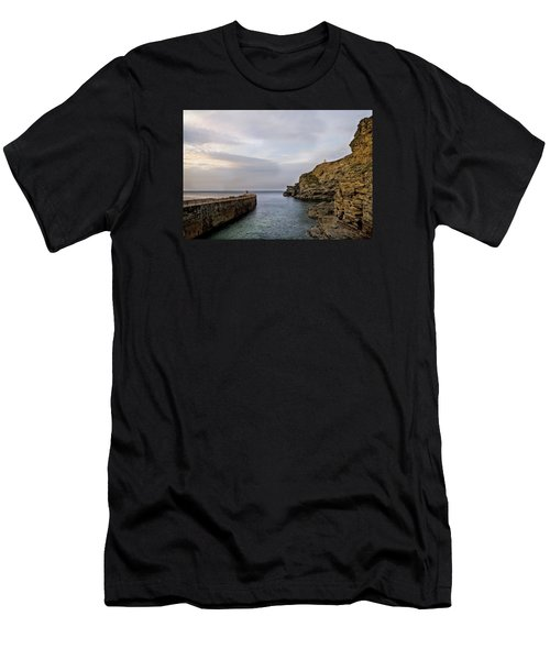 Portreath Harbour, Cornwall Uk Men's T-Shirt (Slim Fit) by Shirley Mitchell