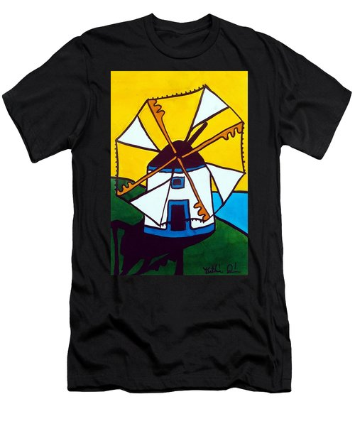 Portuguese Singing Windmill By Dora Hathazi Mendes Men's T-Shirt (Slim Fit) by Dora Hathazi Mendes
