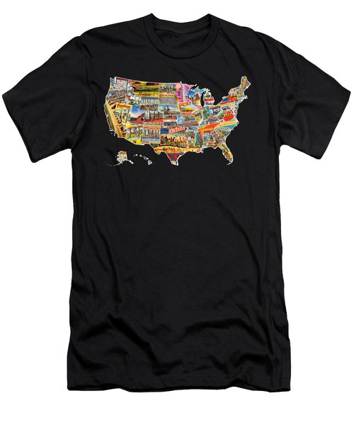 Postcards Of The United States Vintage Usa All 50 States Map Men's T-Shirt (Athletic Fit)