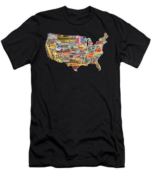Postcards Of The United States Vintage Usa Lower 48 Map Choose Your Own Background Men's T-Shirt (Athletic Fit)