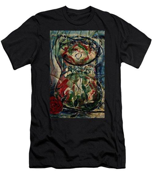 Potpourri Vase With Rose Men's T-Shirt (Athletic Fit)