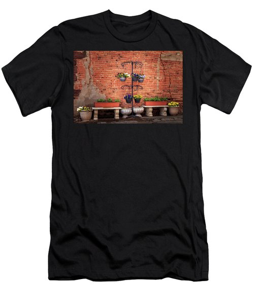 Men's T-Shirt (Athletic Fit) featuring the photograph Potted Plants And A Brick Wall by James Eddy