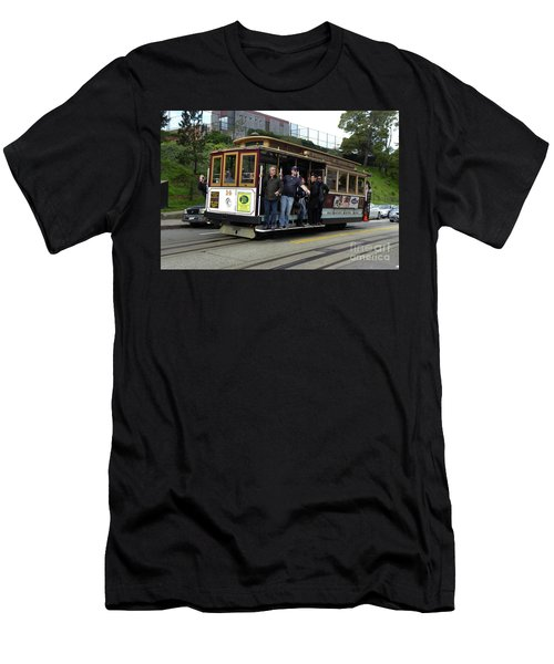 Men's T-Shirt (Slim Fit) featuring the photograph Powell And Market Street Trolley by Steven Spak