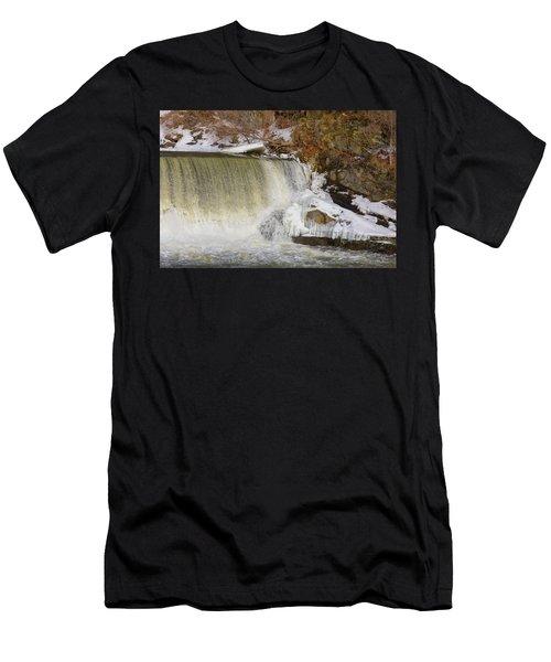 Power Station Falls On Black River Three Men's T-Shirt (Athletic Fit)