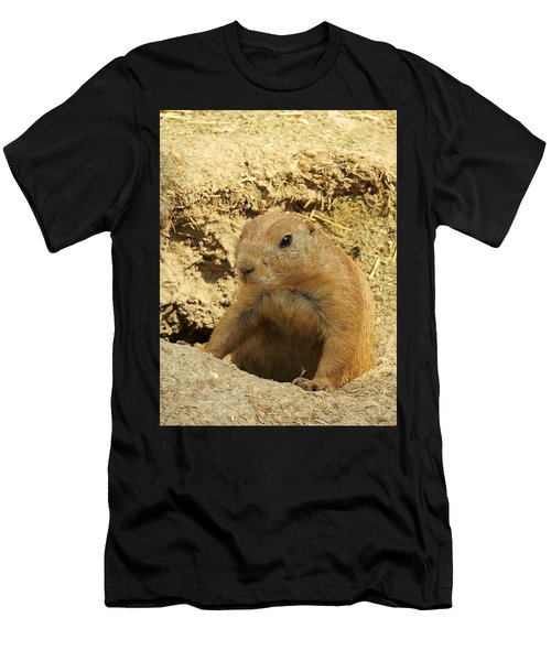 Men's T-Shirt (Slim Fit) featuring the photograph Prairie Dog Peek by Robin Regan