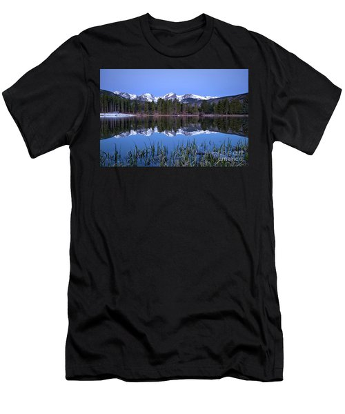 Pre Dawn Image Of The Continental Divide And A Sprague Lake Refl Men's T-Shirt (Athletic Fit)