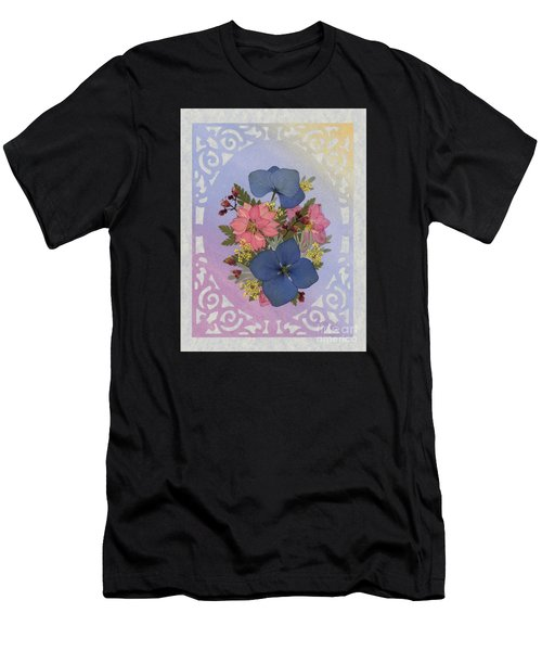 Pressed Flowers Arrangement With Pink Larkspur And Hydrangea Men's T-Shirt (Athletic Fit)