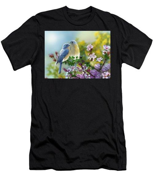 Pretty Blue Birds Men's T-Shirt (Athletic Fit)