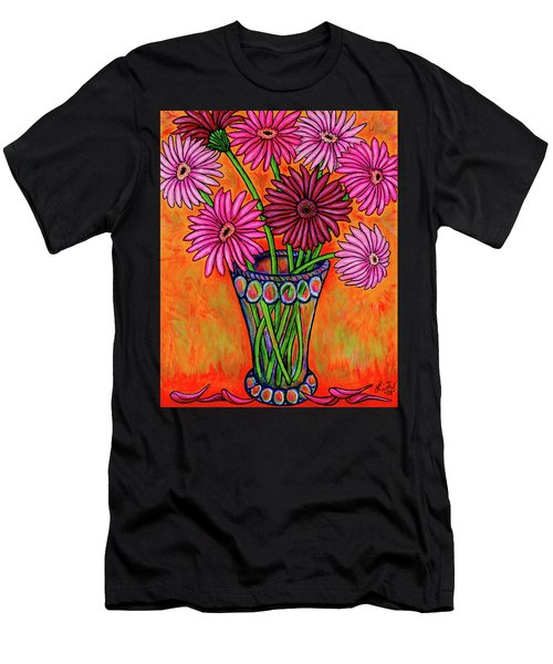 Men's T-Shirt (Athletic Fit) featuring the painting Pretty In Pink Gerbers by Lisa Lorenz