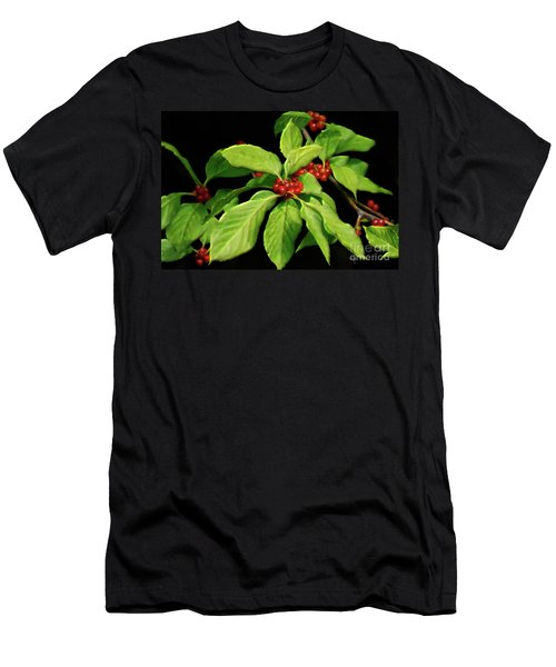 Men's T-Shirt (Slim Fit) featuring the photograph Pretty Little Red Berries by Lois Bryan