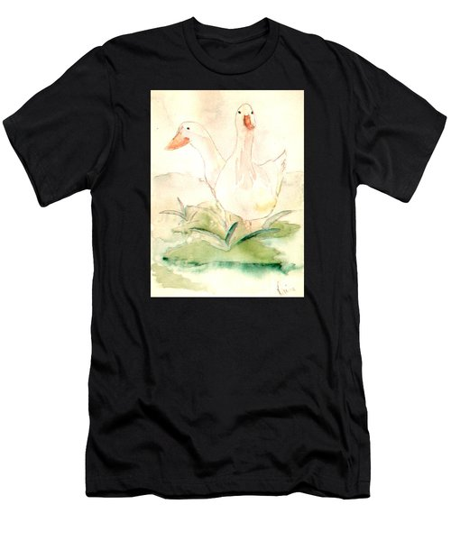 Men's T-Shirt (Athletic Fit) featuring the painting Pretty Pekins by Denise Tomasura
