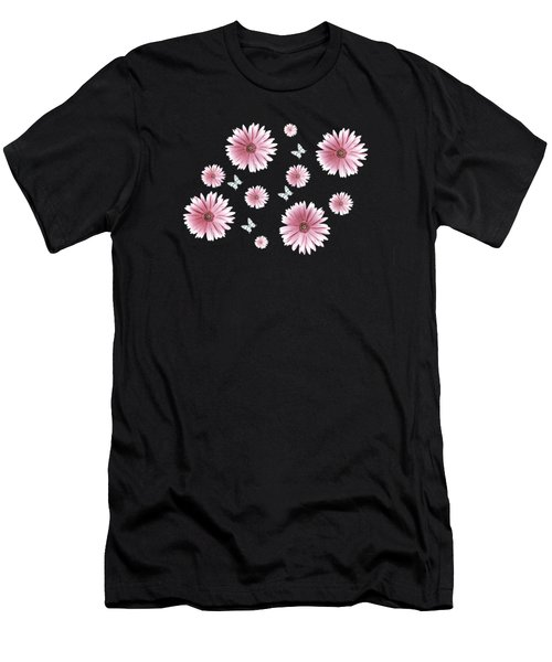 Pretty Pink Flowers On Black Men's T-Shirt (Athletic Fit)