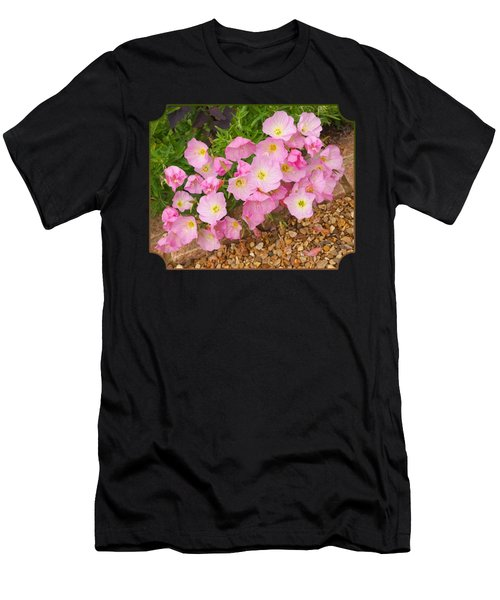 Pretty Pink Rock Roses In The Rain Men's T-Shirt (Athletic Fit)
