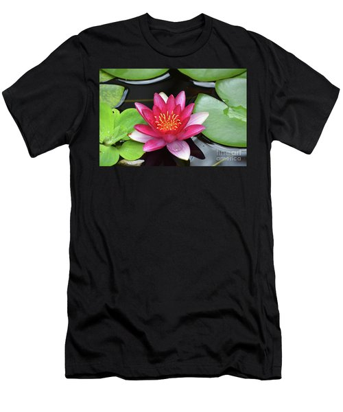 Pretty Red Water Lily Flowering In A Water Garden Men's T-Shirt (Athletic Fit)