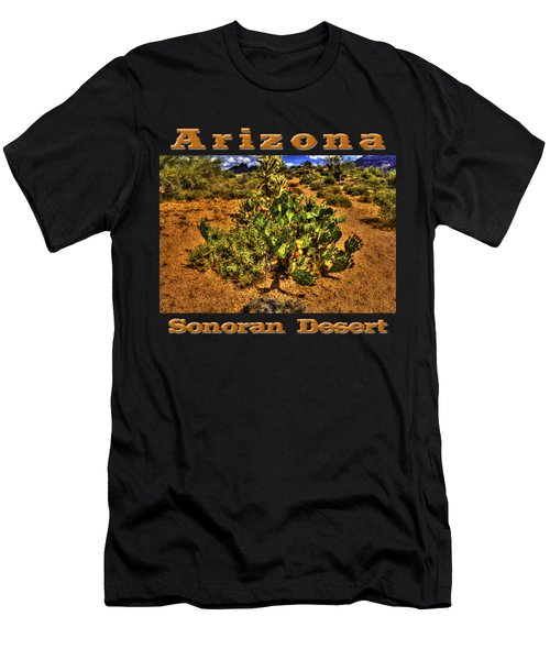 Prickly Pear In Bloom With Brittlebush And Cholla For Company Men's T-Shirt (Athletic Fit)