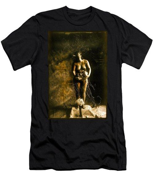 Primitive Woman Holding Mask Men's T-Shirt (Athletic Fit)