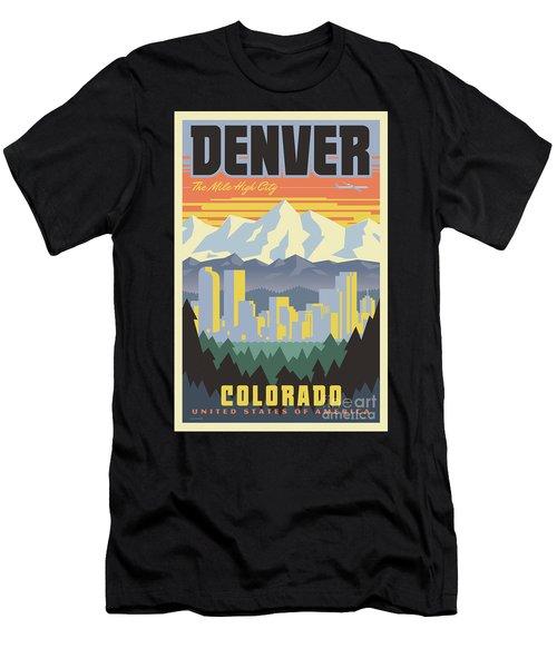 Denver Poster - Vintage Travel Men's T-Shirt (Athletic Fit)