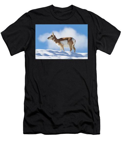 Pronghorn Doe On Snowy Ridge Men's T-Shirt (Athletic Fit)