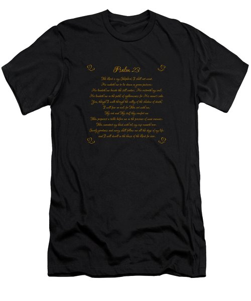 Psalm 23 The Lord Is My Shepherd Gold Script On Black Men's T-Shirt (Athletic Fit)